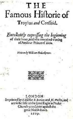 Troilus and Cressida: Title Page of Revised 1609 Quarto Edition