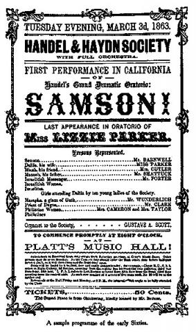 """Poster for the first California performance (1863) of Handel's setting of Milton's drama, """"Samson Agonistes"""""""
