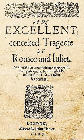 Romeo and Juliet: Title Page of the Quarto Edition, 1597