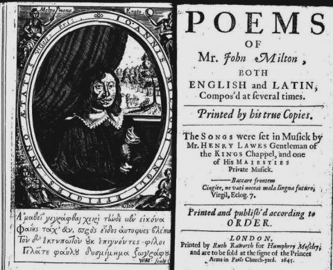 Title Page of Milton's Youthful Poems (1645 Edition)