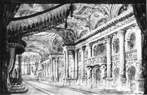 Booth's Theatre, New York, 1869: Design for Act III of Hamlet