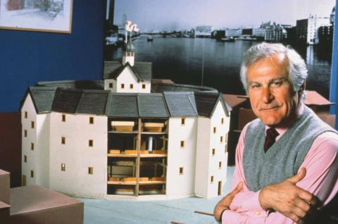 Sam Wanamaker with an Early Model of the Globe Project