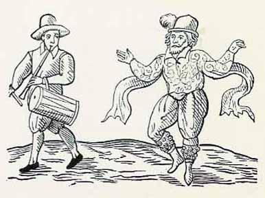 Frontispiece of Nine Days Wonder (1600): Will Kemp Performing a Jig