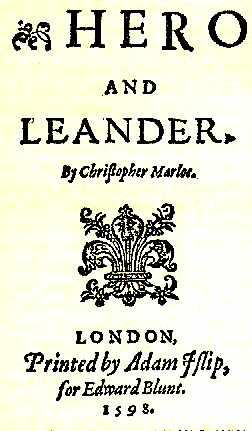 """""""Hero and Leander"""" Title Page (1598)"""