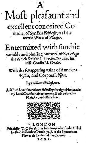 The Merry Wives of Windsor: Title Page for the 1602 Quarto