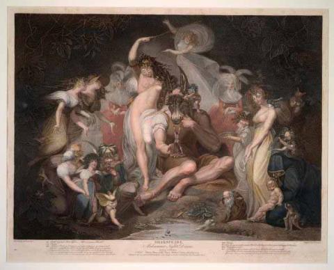 "A Midsummer Night's Dream, ""A Wood with Titania, Queen of the Fairies, Bottom, Fairies"" Painting"
