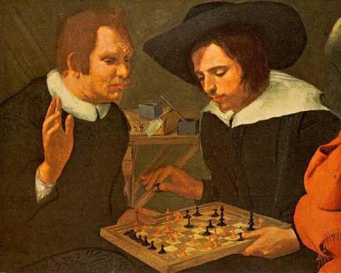 """Ben Jonson and Shakespeare Playing Chess"" by Karel van Mander"