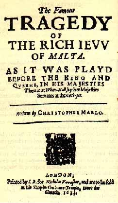 """""""The Jew of Malta"""" Title Page (1633 Edition)"""
