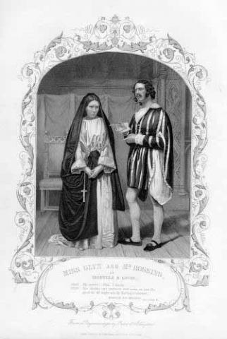 Measure for Measure, Isabella Glyn (1823-1889) as Isabella and William Hoskins (d.1886) as Lucio