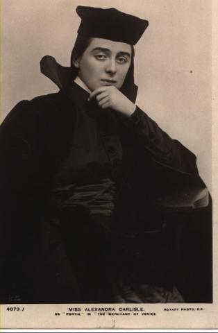 Merchant of Venice, Alexandra Carlisle as Portia (as the Lawyer Balthazar), 1908
