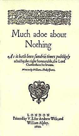 Much Ado About Nothing, Title-page of the Quarto Edition, 1600