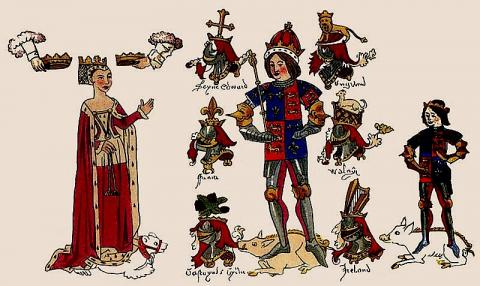 Richard III, his Queen Anne, and his son; with related heraldry (15th c.)