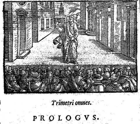 """Woodcut from the Prologue of Terence's comedy """"Heauton Timorumenos"""" (""""The Self-Tormentor""""), published 1580"""