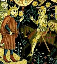 15th Century Tapestry of Joan of Arc with the Dauphin at Chinon (cp. Henry VI, Part 1, Act 1, Scene vi).