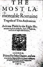 Shakespeare: Titus Andronicus, Q1 (1594).