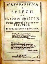 Milton's Areopagitica: a Prose Pamphlet Advocating Free Speech (1644)