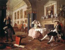 "Hogarth's illustration of ""Marriage à la Mode"""