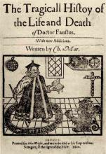 A Magician: Title page from Marlowe's Dr. Faustus, 1620.
