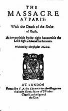 """""""The Massacre at Paris"""" Title Page"""