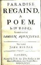 Paradise Regained printed with Samson Agonistes