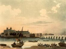 Westminster Bridge With Westminster Hall as Drawn by Augustus Pugin and Thomas Rowlandson for Ackermann's Microcosm of London
