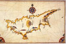A Map of Cyprus by Piri Reis, 16th Century