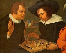 """Ben Jonson and Shakespeare Playing Chess"" by Karel van Mander"
