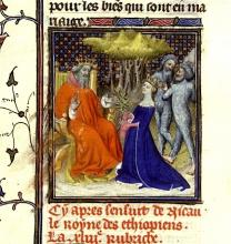 Boccaccio: Solomon and The Queen of Sheba With Her Ethiopes, De Mulieribus Claris (Anonymous Ms. Paris, XV. c.)