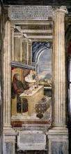 Francesco Petrarch in his study