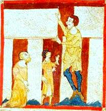 Merlin, in giant form, helps build Stonehenge. British Library, Egerton 3028.