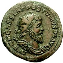 Portrait of the Emperor Postumus on a double sesterce (a brass coin, enlarged).