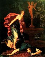 Pyramus and Thisbe by Gregorio Pagani (1558 - 1605): Italian Mannerist painter in Florence (Uffizi Gallery)