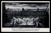 Setting for Hamlet in Kronborg Castle Courtyard designed by Nat Karson,1947.