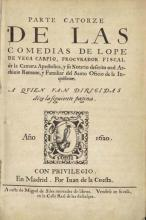 The Fourteenth Volume of the Plays of Lope de Vega
